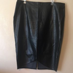 Outrageous Fortune black faux leather skirt